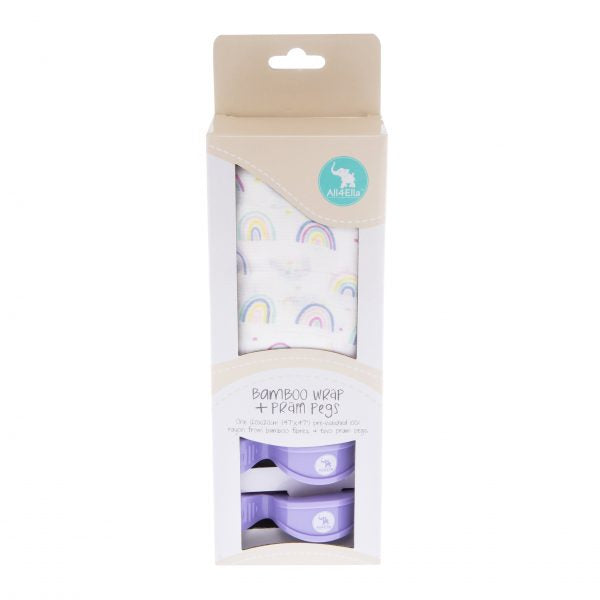All4Ella Bamboo Wrap & 2 Pram Peg Box Set Rainbow