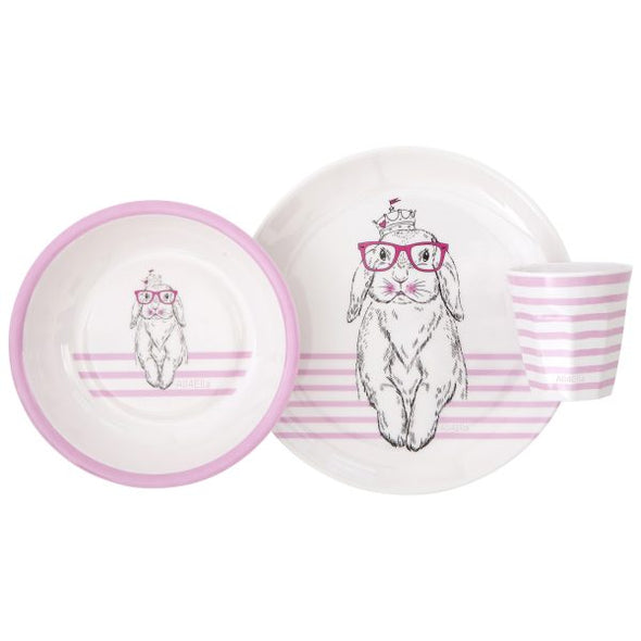 All4Ella Melamine Dinner Set Bunny Pink