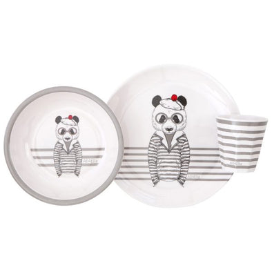 All4Ella Melamine Dinner Set Bear Grey