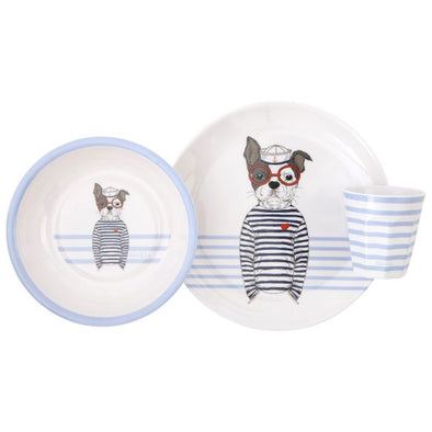 All4Ella Melamine Dinner Set Dog Blue