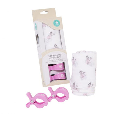 All4Ella Bamboo Wrap & 2 Pram Peg Box Set Fairy