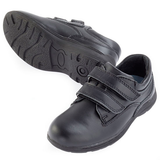 Red Bootie 4SB Boys Double Velcro School Shoe Black