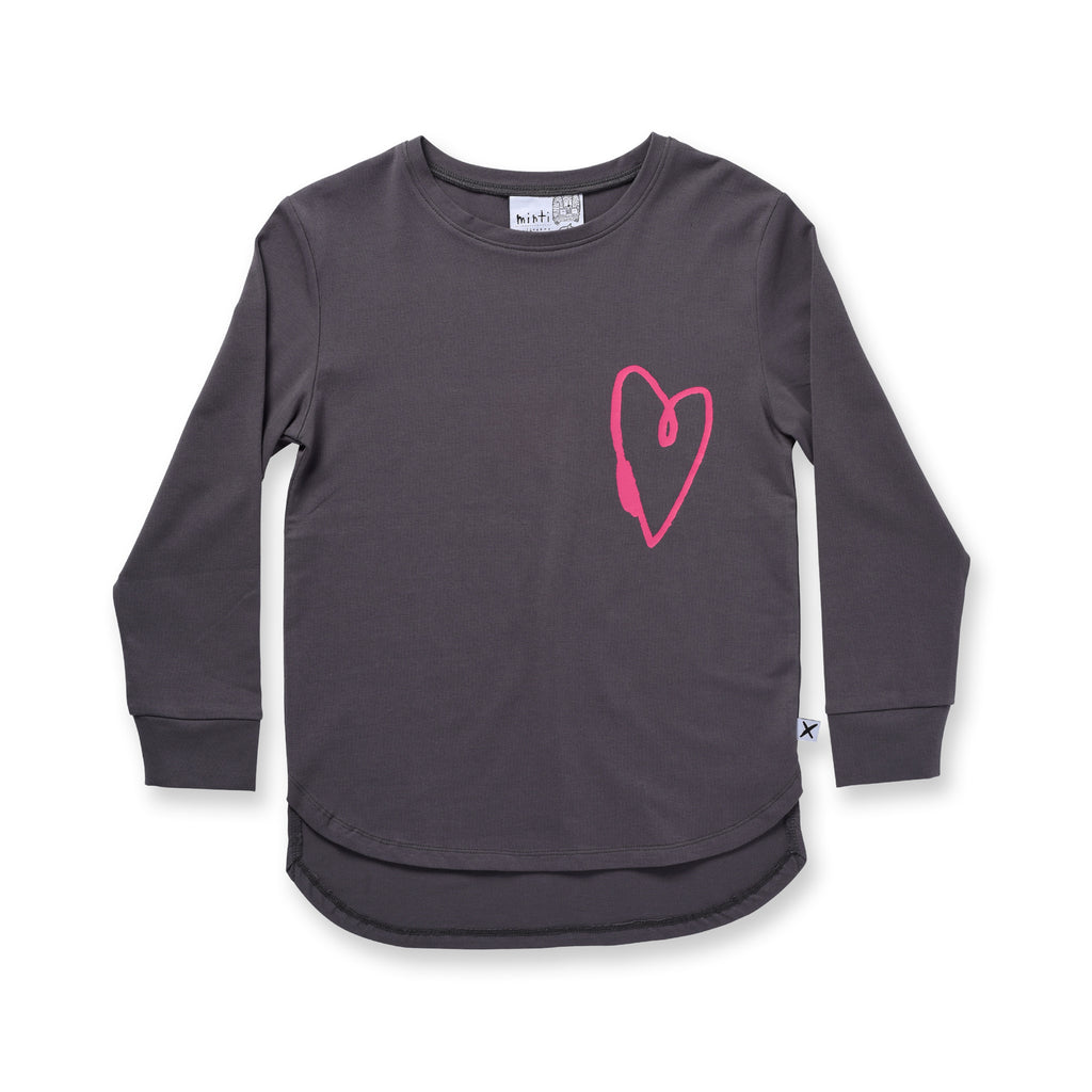 Minti Lovely Heart L/S Tee Dark Grey *#