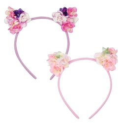 Pink Poppy Floral Cat Ear Headband