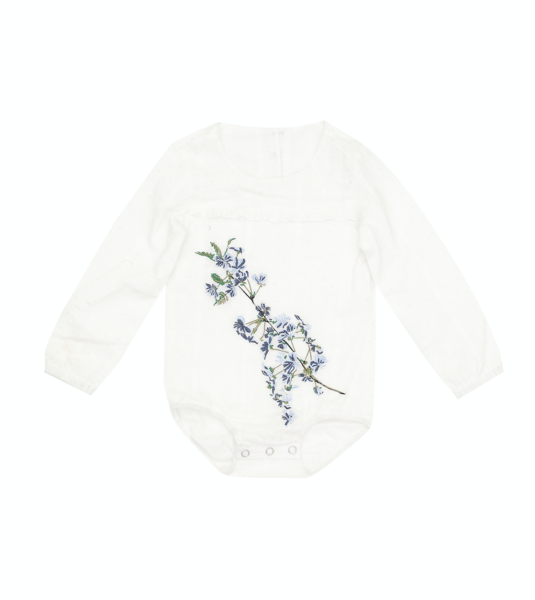 Bella & Lace Lucy Embroidered Onesie Off White