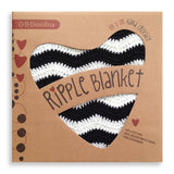 OB Designs Black and White Ripple Blanket
