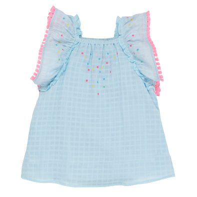 Fox & Finch Maui Dress with Embroidery Pale Blue^