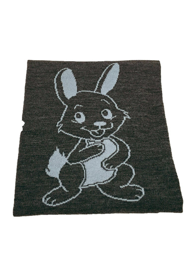 Branberry Wool Reversible Blanket Bunny Grey/Baby Blue