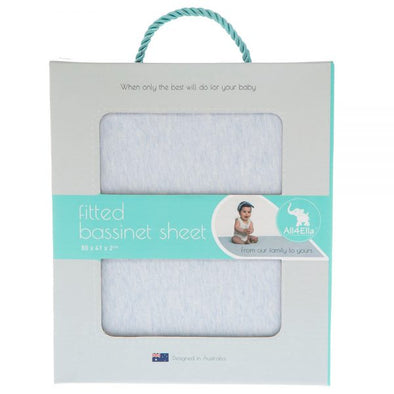 All4Ella Fitted Bassinet Sheet Marle Blue