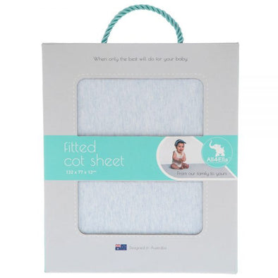 All4Ella Fitted Cot Sheet Marle Blue