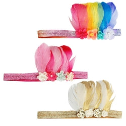 Pink Poppy Feather Headband