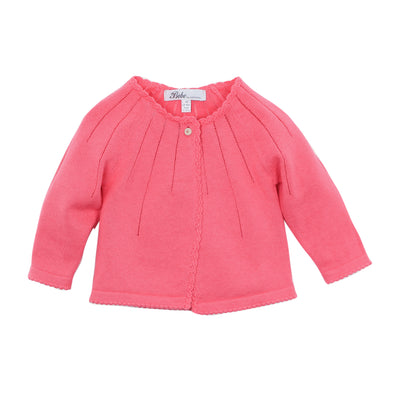 Bebe L/S Pointelle Cardigan Bright Pink ^