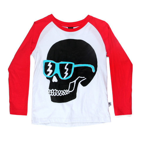 Littlehorn Raglan Tee Skull White/Red