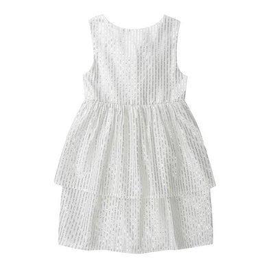 Minouche Lila Dress Double Layered White/Silver Stripe ^