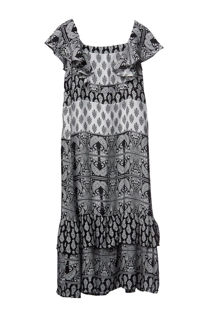 Mii Love Mu Maxi Dress Boho Black & White *