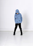 Minti Scribbles Furry Hood Muted Blue #