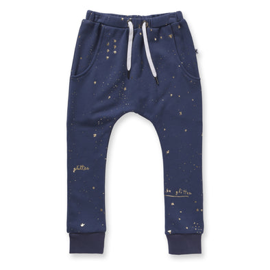 Minti Glitter Furry Trackies Midnight +