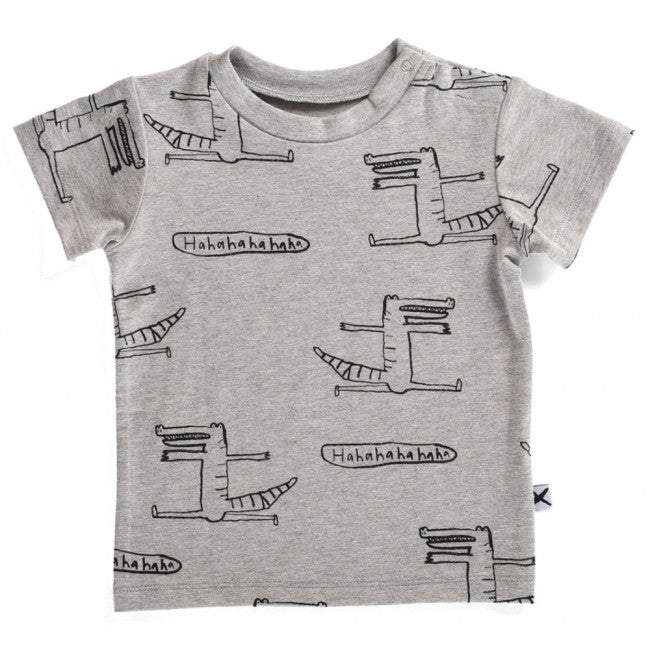 Minti Baby Tee Cheeky Crocodile Grey Marle