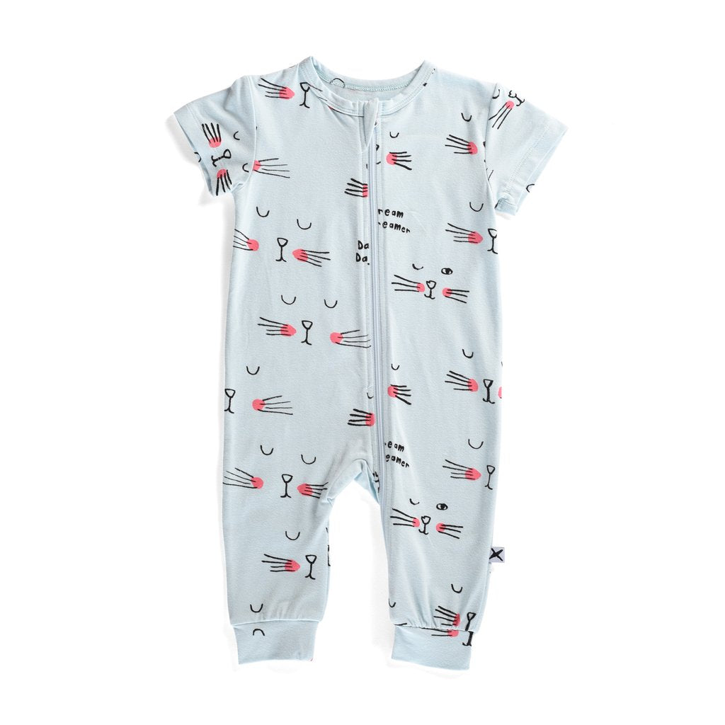 Minti Baby Summer Zippy Suit Sleepy Cat Baby Blue