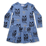 Minti Brrr Cat Dress Blue Marle *