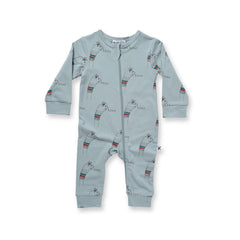Minti Baby Sock Face Zippy Suit Muted Green *#