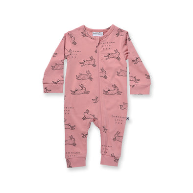 Minti Baby Somebunny Loves You Zippy Suit Rose ^+