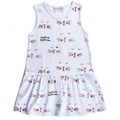 Minti Dress Sleepy Cats Baby Blue