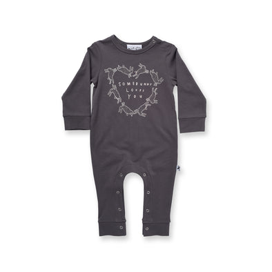 Minti Baby Somebunny Loves You Romper Dark Grey *