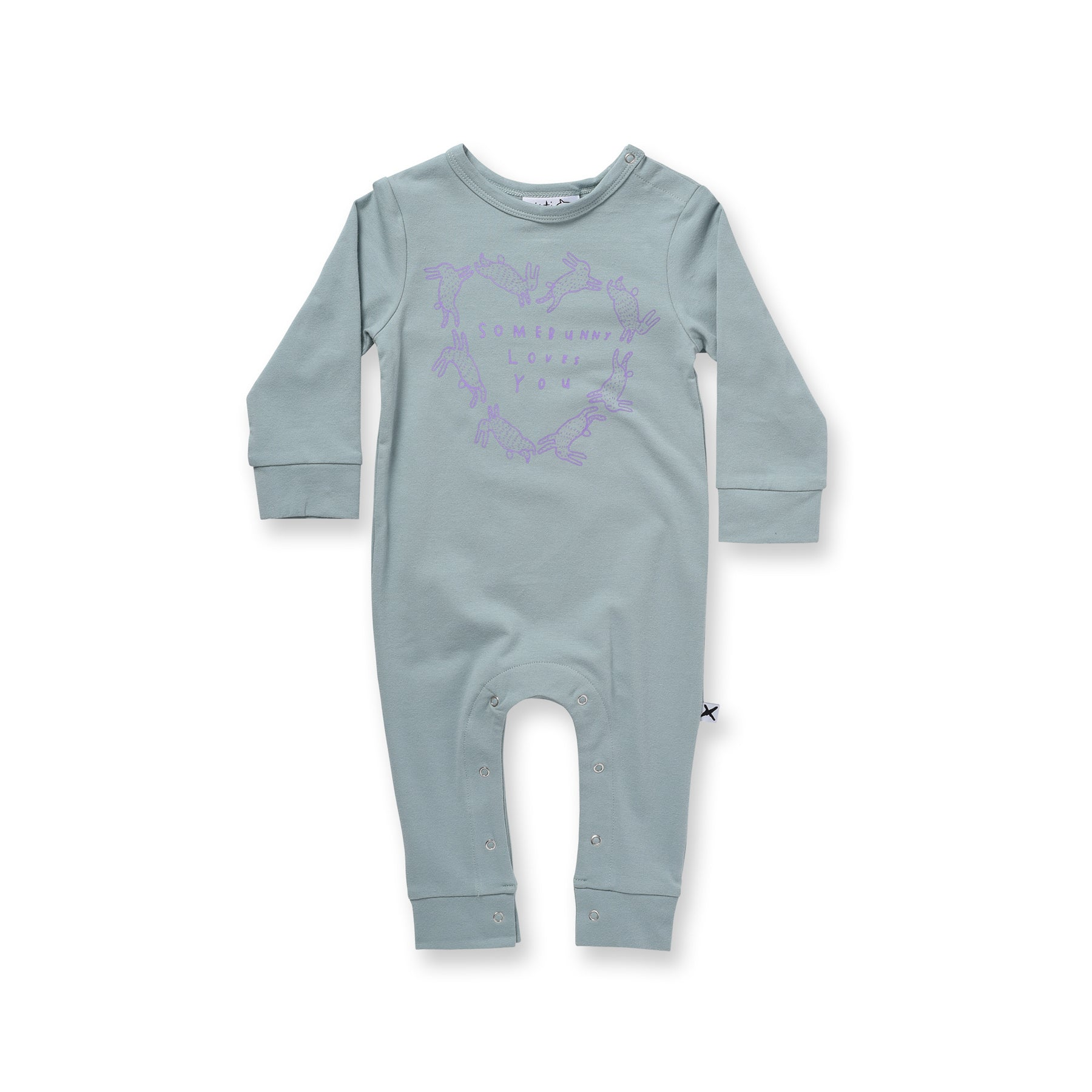 Minti Baby Somebunny Loves You Romper Muted Green *