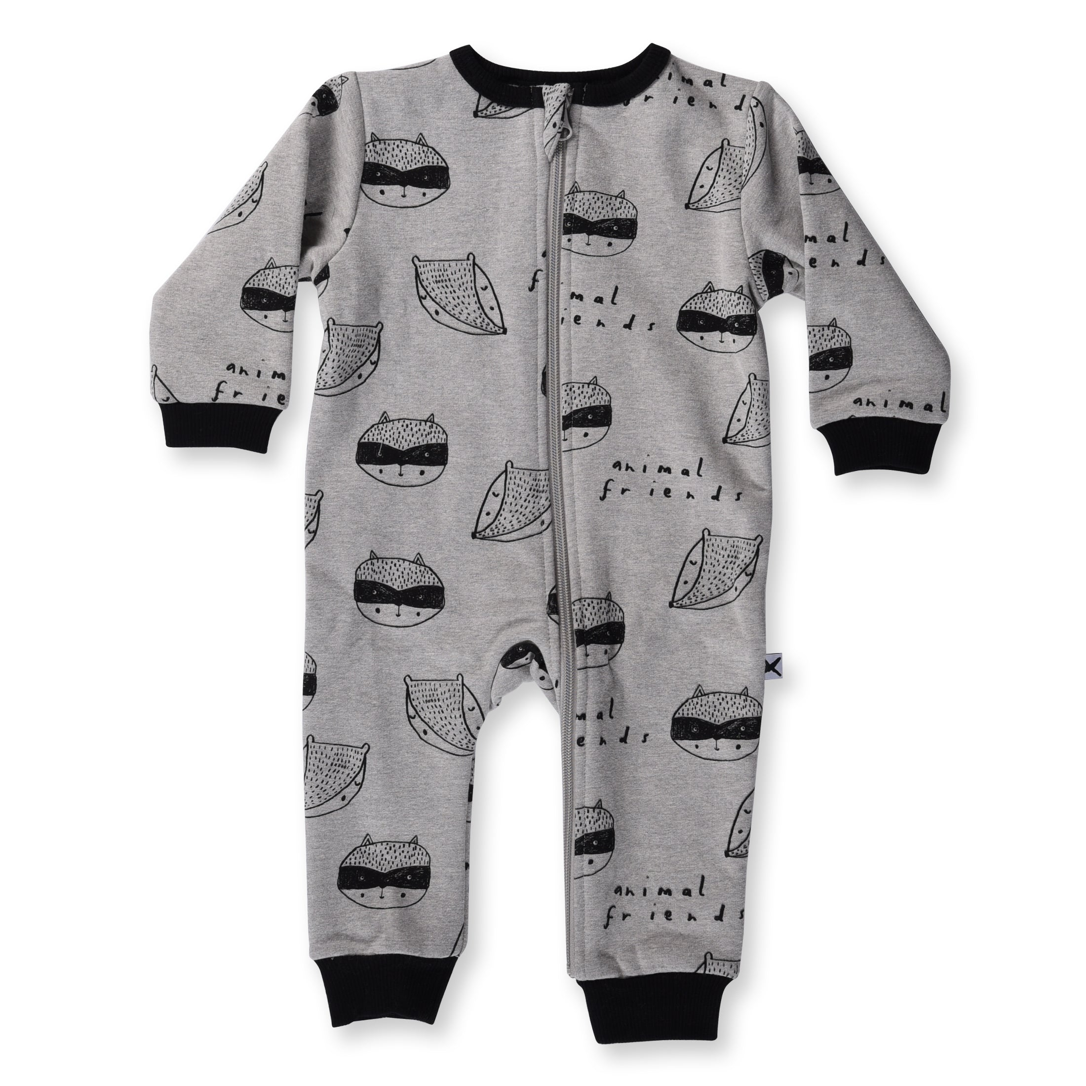 Minti Baby Animal Friends Furry Zip Up Suit Grey Marle *