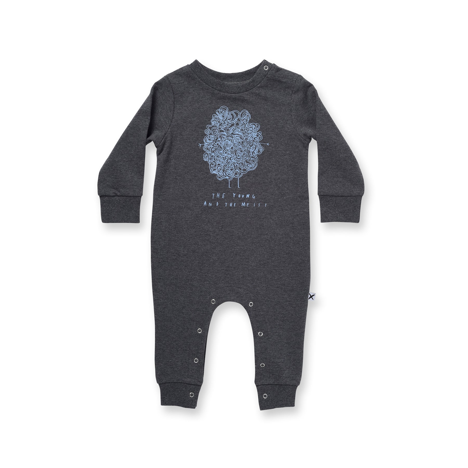 Minti Baby Young & Messy Furry Romper Charcoal Marle #
