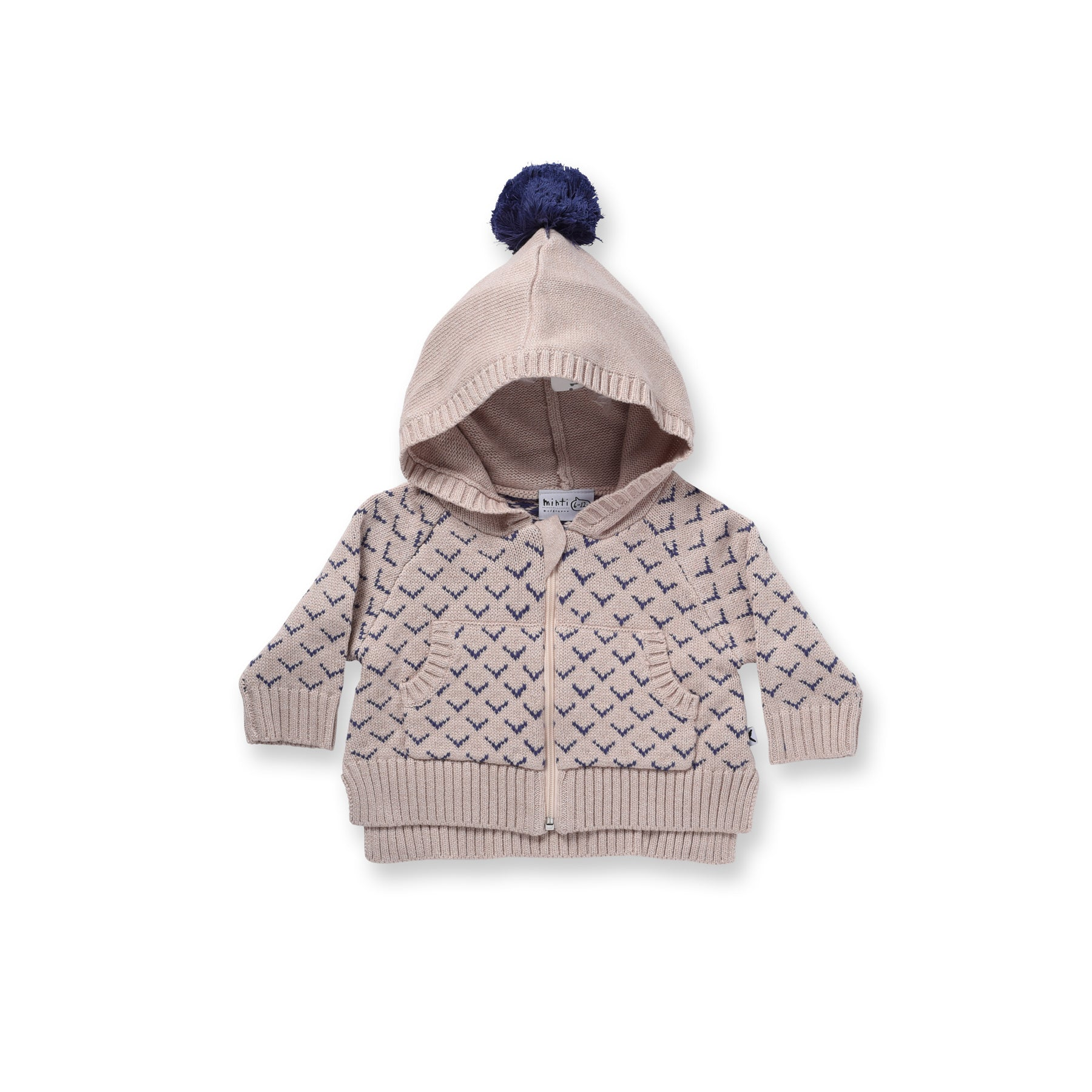 Minti Baby Chevron Knit Zippy Oatmeal *#