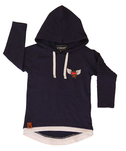 Oovy Navy Kind Heart Hoodie Top *