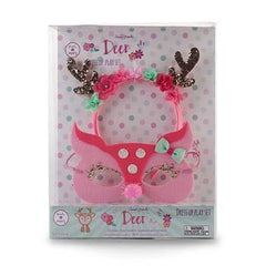 Pink Poppy Deer Headband & Mask