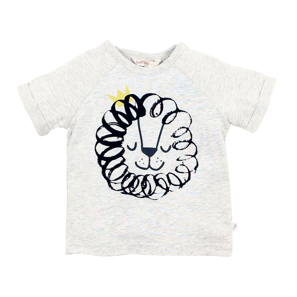 Fox & Finch Lion Face Tee Icy Marle