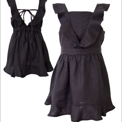 Mii Love Mu Linen Dress Charcoal +