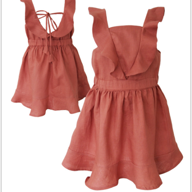 Mii Love Mu Linen Dress Terracotta +