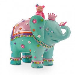 Pink Poppy Daisy Elephant Money Box Blue