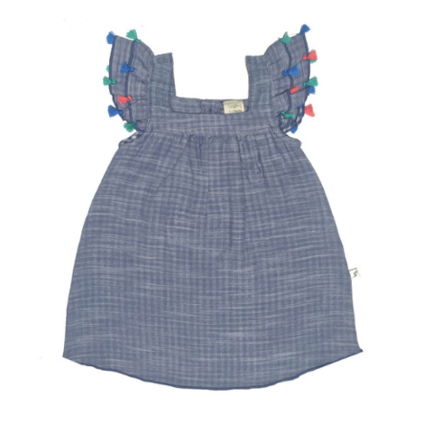 Tiny Twig Tassel Dress Blue Chambray ^+