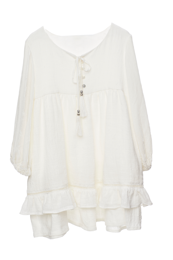 Mii Love Mu Velvet Sleeve Dress White *#