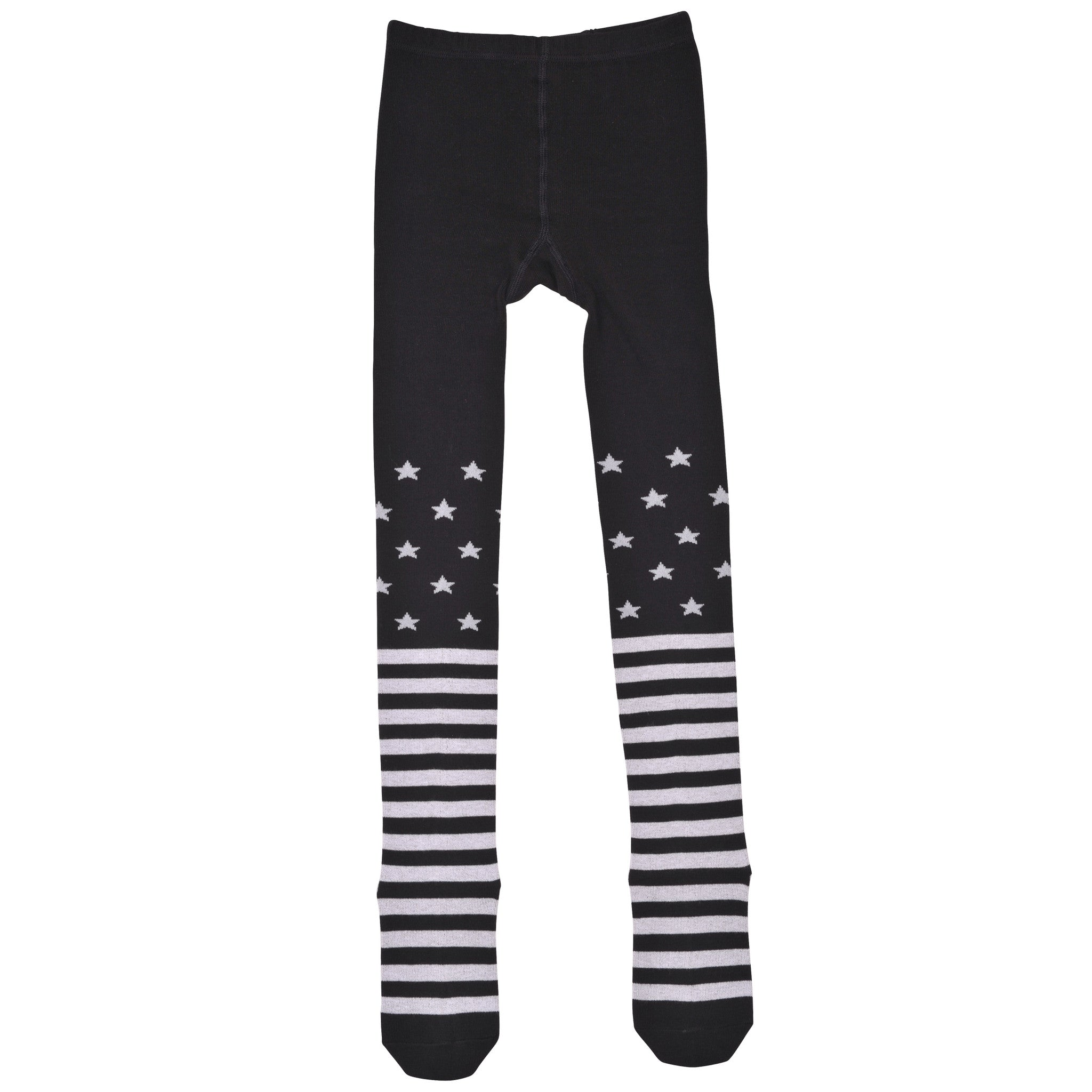 Paper Wings Tights Black/White Stars and Stripes