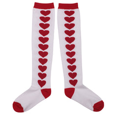Paper Wings Knee High Socks Hearts Red/White