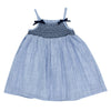 Bebe Zoe Shirred Dress with Bows Navy Stripe