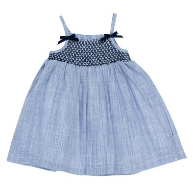 Bebe Zoe Shirred Dress with Bows Navy Stripe ^