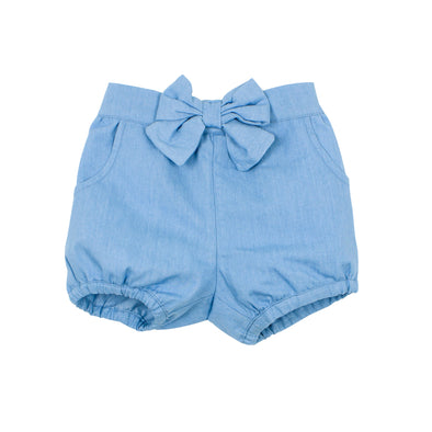 Bebe Abby Chambray Short with Bow Light Chambray ^+