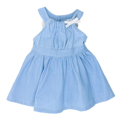 Bebe Abby Chambray Lace Dress Light Chambray