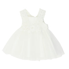 Bebe Baby Lace Dress with Back Bow Ivory