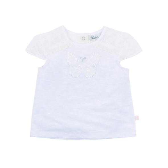 Bebe Grace Broiderie Tee White