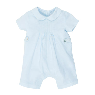 Bebe Boys S/S Romper with Tucks Blue