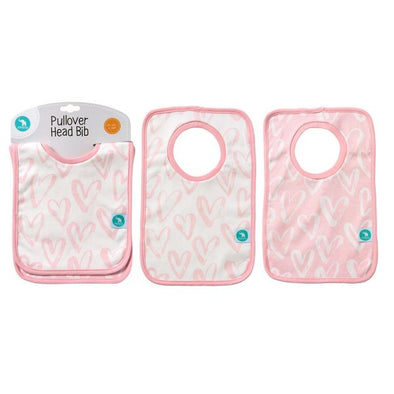 All4Ella Pullover Head Bib 2 Pack Heart Pink